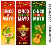 cinco de mayo banners set with... | Shutterstock .eps vector #1032984868