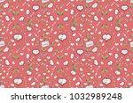 seamless love fabric pattern... | Shutterstock . vector #1032989248