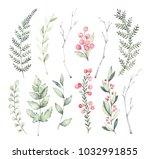 hand drawn watercolor... | Shutterstock . vector #1032991855