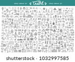 vector set with hand drawn... | Shutterstock .eps vector #1032997585