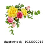 Small photo of Pink and yellow rose flowers with eucalyptus leaves in a corner arrangement isolated on white background. Flat lay. Top view.