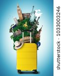 yellow travel bag with world... | Shutterstock . vector #1033003246