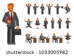 smart businessman character... | Shutterstock .eps vector #1033005982