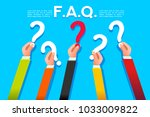 faq ask concept in flat style.... | Shutterstock .eps vector #1033009822