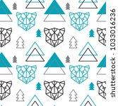 abstract polygonal bear ... | Shutterstock .eps vector #1033016236