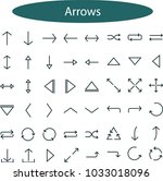arrow vector icon set in thin... | Shutterstock .eps vector #1033018096