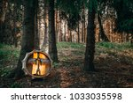 shamanic forest drum  | Shutterstock . vector #1033035598