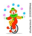 funny circus clown juggling... | Shutterstock . vector #1033038466