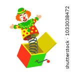 toy circus clown on a spring... | Shutterstock . vector #1033038472