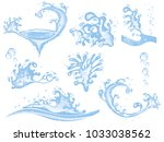 water splash with ice cubes | Shutterstock .eps vector #1033038562