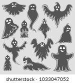 cartoon spooky ghost character... | Shutterstock .eps vector #1033047052