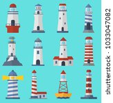 vector set of cartoon flat... | Shutterstock .eps vector #1033047082