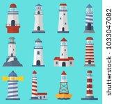 vector set of cartoon flat... | Shutterstock .eps vector #1033047082