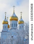 Small photo of Cathedral of Archangel Michael in winter in Arkhangelsk, Russia