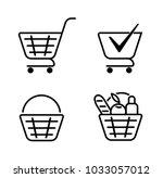 basket of food basket set icons.... | Shutterstock .eps vector #1033057012