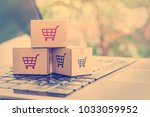 online shopping   ecommerce and ... | Shutterstock . vector #1033059952