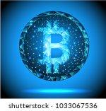bitcoin  low poly  vector...   Shutterstock .eps vector #1033067536