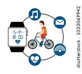 cartoon man riding bike sport... | Shutterstock .eps vector #1033069942