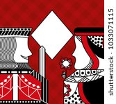 casino poker queen and king... | Shutterstock .eps vector #1033071115