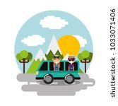 happy couple travelers vacation ... | Shutterstock .eps vector #1033071406