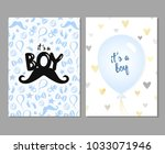 vector set of blue baby shower...   Shutterstock .eps vector #1033071946