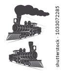 vintage logo steam locomotive | Shutterstock .eps vector #1033072285