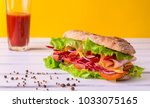 preparing a crusty fresh... | Shutterstock . vector #1033075165