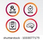 quiz icons. human brain think.... | Shutterstock .eps vector #1033077175