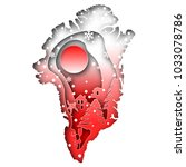 Paper art carves the concept of Greenland. Vector illustration. Abstract logo. Isolated icon. Background of Greenland. 10 EPS