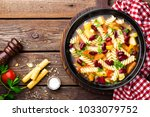 minestrone soup. vegetable soup ... | Shutterstock . vector #1033079752