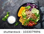 buddha bowl dish with brown... | Shutterstock . vector #1033079896