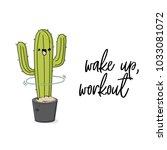 vector funny cactus... | Shutterstock .eps vector #1033081072