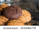 chocolate cookie and oat...   Shutterstock . vector #1033086778