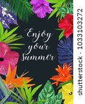 floral card with frame for text ... | Shutterstock .eps vector #1033103272