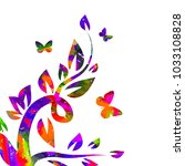 Stock vector multicolored flower abstraction with butterflies 1033108828