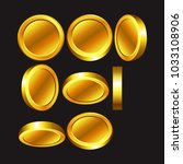 set of shiny coins with... | Shutterstock .eps vector #1033108906