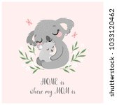 Stock vector mother s day greeting card or poster with cute koala mother and baby on pink background 1033120462