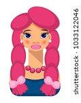 girl with braids  beautiful...   Shutterstock .eps vector #1033122046