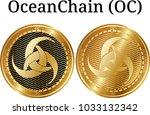 set of physical golden coin... | Shutterstock .eps vector #1033132342