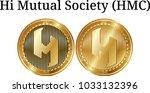set of physical golden coin hi... | Shutterstock .eps vector #1033132396