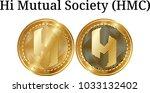 set of physical golden coin hi... | Shutterstock .eps vector #1033132402