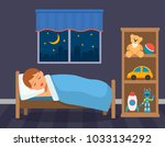 a boy is sleeping in his... | Shutterstock .eps vector #1033134292