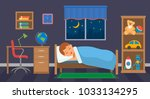 a boy is sleeping in his... | Shutterstock .eps vector #1033134295