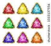 colored gemstones set in gold.... | Shutterstock .eps vector #1033137556