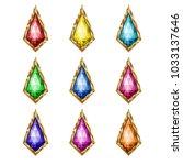 colored gemstones set in gold.... | Shutterstock .eps vector #1033137646