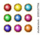 colored gemstones set in gold.... | Shutterstock .eps vector #1033137706