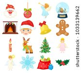 christmas attributes and... | Shutterstock . vector #1033139662