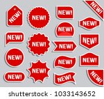"""bright stickers """"new """". red... 