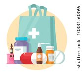 medical supplies  bottles... | Shutterstock .eps vector #1033150396