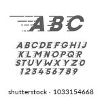 custom font in italic style... | Shutterstock .eps vector #1033154668